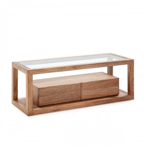 Mueble TV Rick Natural. Mueble de televisión madera de cedro y cristal. Color natural. Thai Natura.