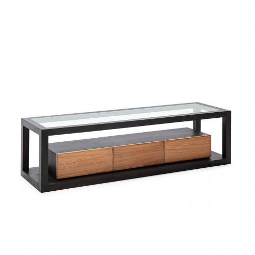Mueble TV Blaine Negro Natural. Mueble TV madera de cedro y cristal. Color negro y natural. Thai Natura.