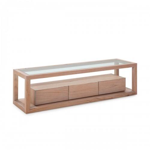 Mueble TV Blaine Natural. Mueble TV madera de cedro y cristal. Natural con patina gris. Thai Natura.