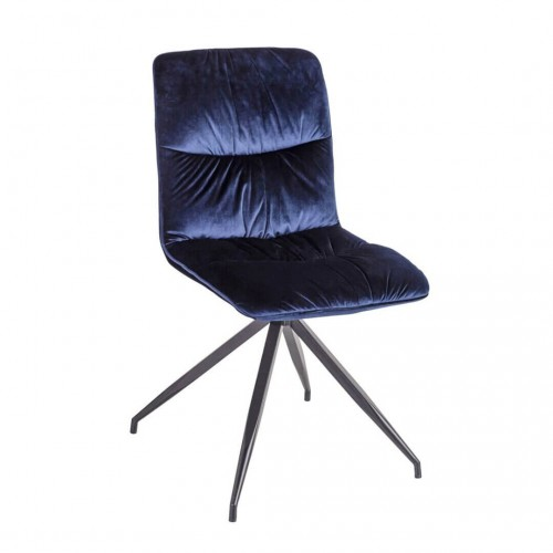 Silla Land. Silla con asiento y respaldo tapizados en terciopelo de color azul. Patas pintadas de color negro. Camino a Casa.